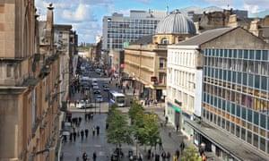View looking west along Sauchiehall Street, Glasgow.