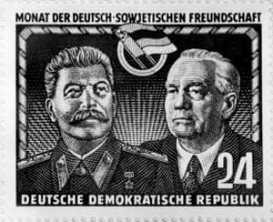 An East German stamp issued probably at the end of 1949, showing Soviet leader Joseph Stalin (L) and first East German President Wilhelm Pieck.