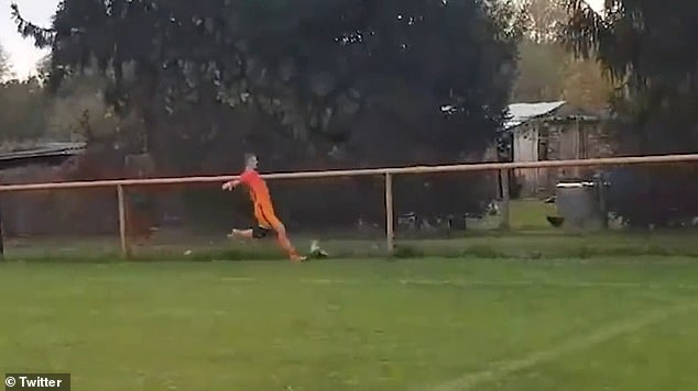 Ivan Gazdek, 23, was shown a straight red card during a semi-professional football match in Croatia at the weekend for kicking a chicken to death after it ran on the pitch