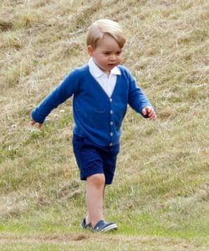 Prince George in his royal-blue cardigan.