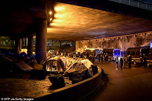 Police chiefs said this was the 59th operation to clear a migrant camp in Paris since 2015, when Europe saw an influx of asylum seekers from the Middle East and Africa