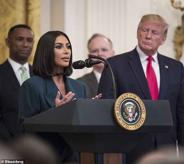 Activist:The 39-year-old has recently been campaigning for prison reform, and she has revealed she is currently on good terms with the embattled president and his administration; seen here at the White House in June