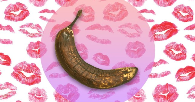 A rotting, brown banana on a background with lipstick marks