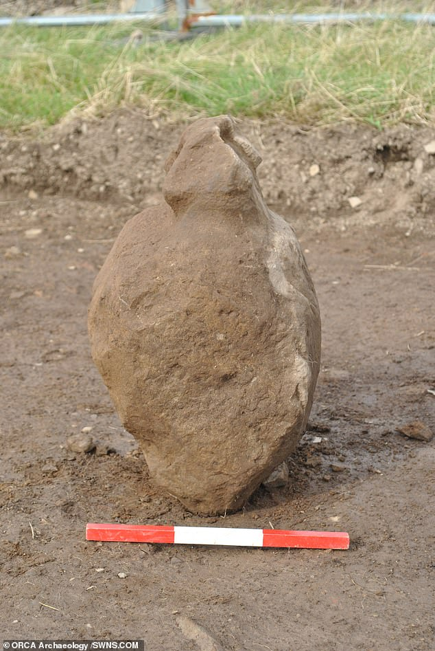 The stones were found scattered around a hearth within the remains of structure that contained three cists — small stone-built coffin-like boxes — two hearths and a partial ring of holes packed with broken-off upstanding stones