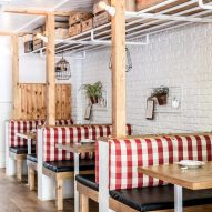 Interiors of Red Farm restaurant designed by Créme