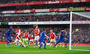 Jorginho of Chelsea scores into an empty net to make it 1-1.