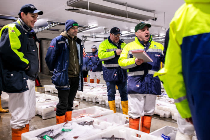 Buyers and sellers at Peterhead Fish Market