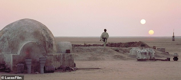 Tatooine, Luke Skywalker's home planet from the first Star Wars film (pictured), is notable for its two suns and a real-life analogue may exist in the form of Kepler-16b