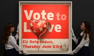 Employees handle Vote to Leave by Banksy.