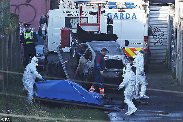 Police in forensic gear work at the scene of a burned-out car in Dublin where body parts were found last month