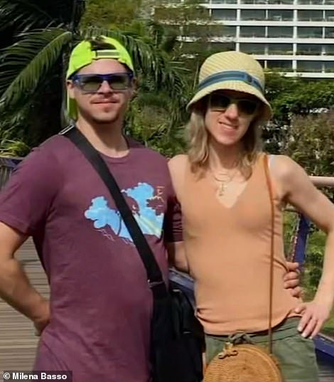 The couple (left and right) were on their honeymoon when the ship went under quarantine in Japan