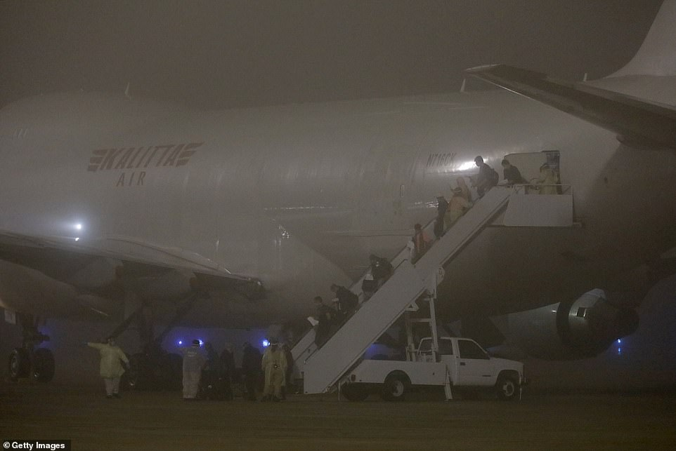 On Sunday, two planes carrying more than 300 US citizens evacuated them to Travis Air Force Base in California and Lackland Air Force Base in San Antonio, Texas (pictured) where they are in another 14-day quarantine