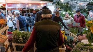 Bethnal market flower stalls in London