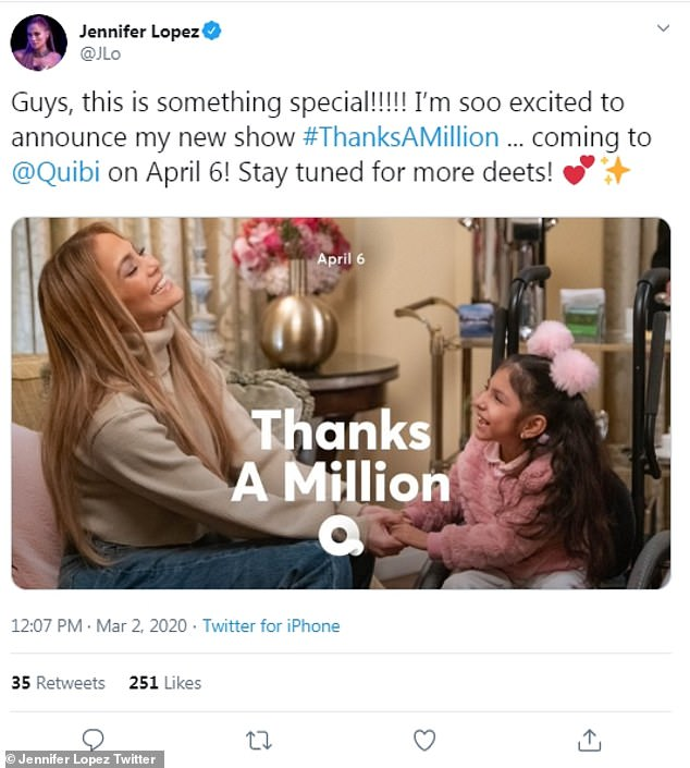 Cute:And the Super Bowl halftime performer also announced a new project - she is doing a show Thanks A Million for Quibi