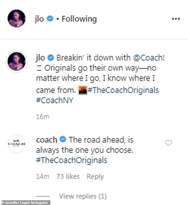 Back an forth: Coach also got in on the action on social media