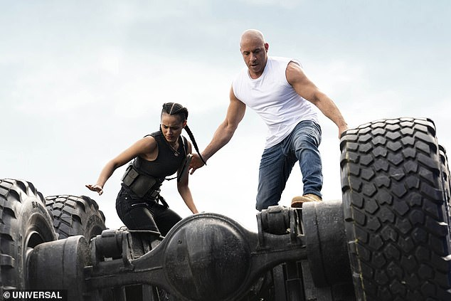 Release cancelled:Vin Diesel and Nathalie Emmanuel are seen in a still from the movie