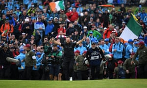 Shane Lowry walks up the 18th at the 2019 Open