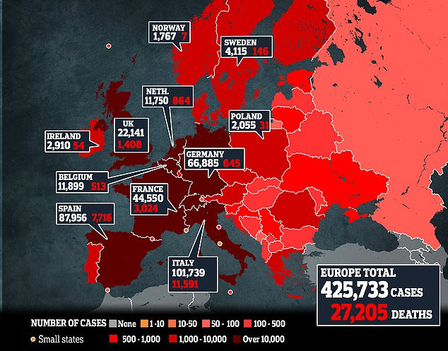 A map showing the latest number of coronavirus cases in Europe. Italy has the most cases and deaths, with Spain second