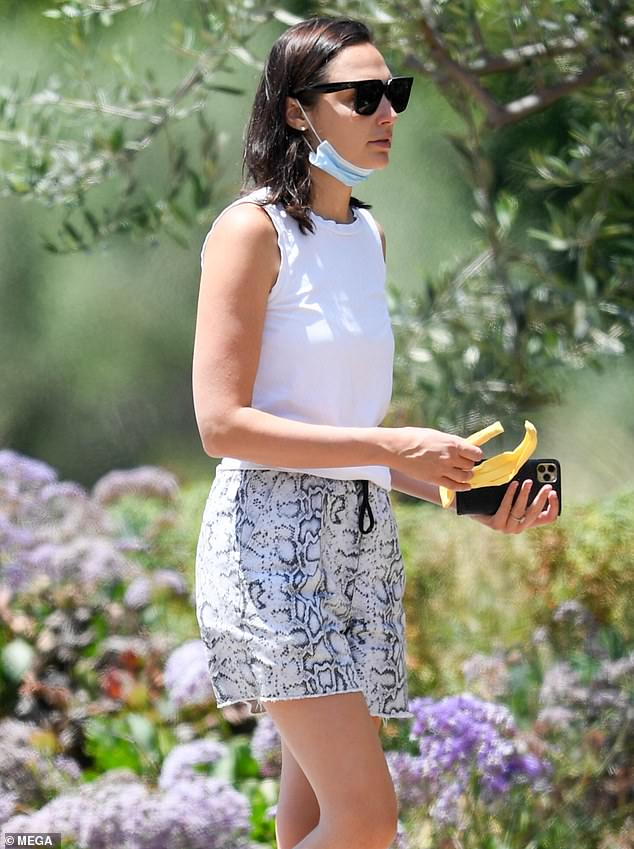 Park visit: Gal Gadot wore a tank top and shorts Sunday while visiting a park in Beverly Hills, California amid the coronavirus pandemic
