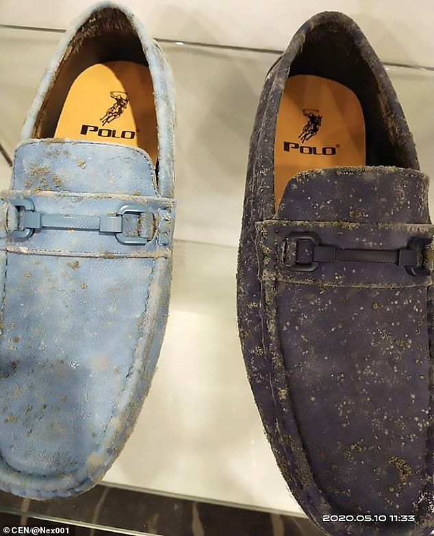 Pictured: Polo loafers fell victim to the mould at this store in Malaysia after they shut down due to the coronavirus pandemic
