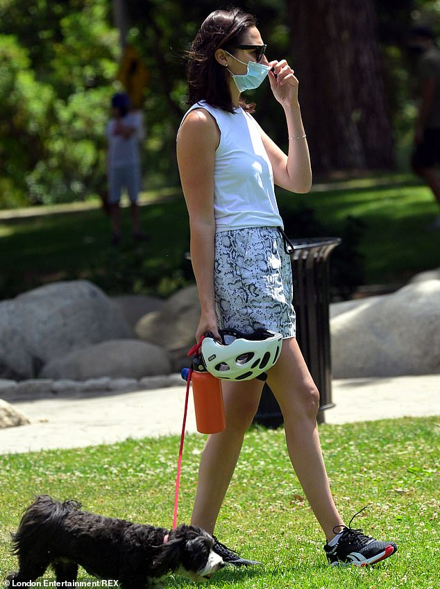 Covering up: The actress covered her nose and mouth with a face mask