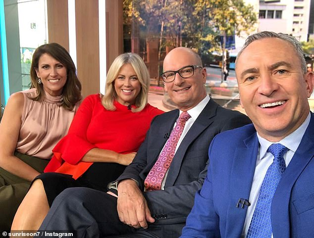 Australia's No. 1: Sunrise has been the market leader in breakfast TV for years, with Today and News Breakfast jostling for second place. Pictured (L-R): Natalie Barr, Sam Armytage, David Koch and Mark Beretta