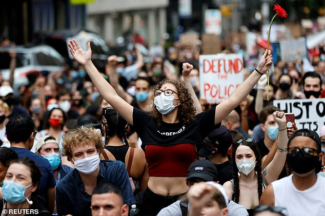 The CDC issued 'common sense' recommendations for gathering in groups amid the pandemic this summer, such as wearing masks, but did not discourage crowds, such as protests (file)