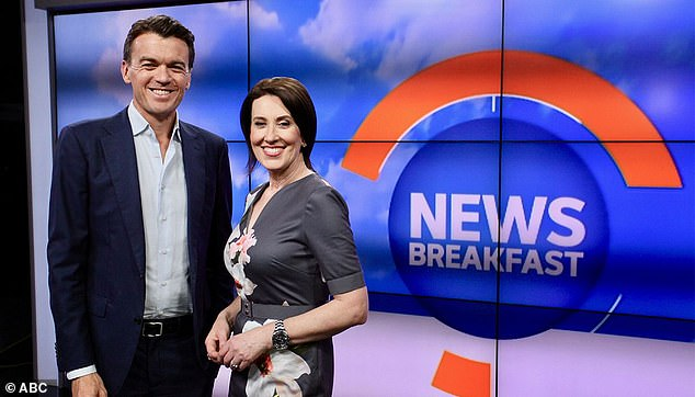 Competition: News Breakfast has beaten Today in the ratings for 10 weeks, but this is partly due to the fact it airs on two channels, ABC and ABC News. Pictured: Michael and former co-host Virginia Trioli
