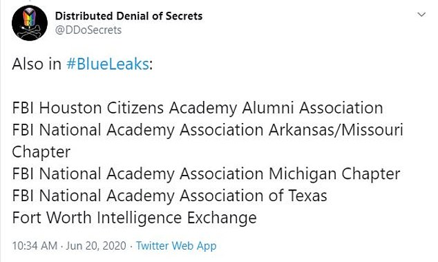 DDoSecrets also shares some of the departments in the US were included in the leak, including information centers, FBI departments and police units