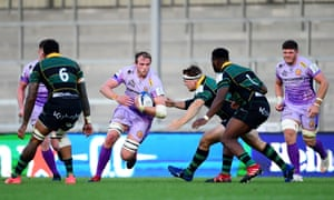 Jonny Gray runs at the Norrthampton defence last month. 'There's such a great culture here,' he says of life at Exeter.