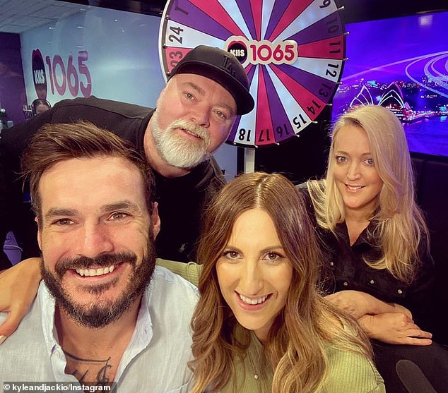 Courting critics: Cynical Bachelor fans have claimed Locky Gilbert and Irena Srbinovska (both at front) won't last as a couple based on their body language in an Instagram photo on Friday. Pictured with radio hostsKyle Sandilands and Jackie 'O' Henderson