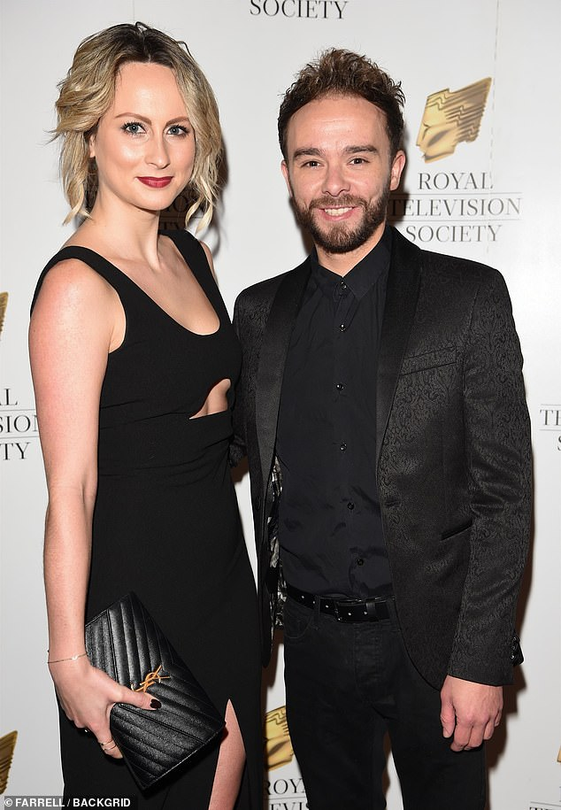 Close to home: One of Jack P Shepherd's neighbour's houses has been raided by a 'gang of five' people during an evening burglary (pictured with his girlfriendHanni Treweek in 2018)