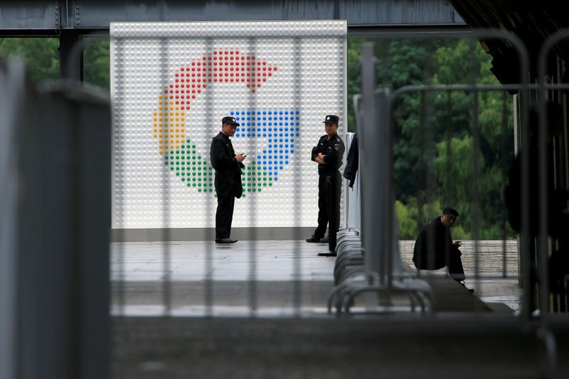 © Reuters. FILE PHOTO: A Google sign is seen during the WAIC (World Artificial Intelligence Conference) in Shanghai