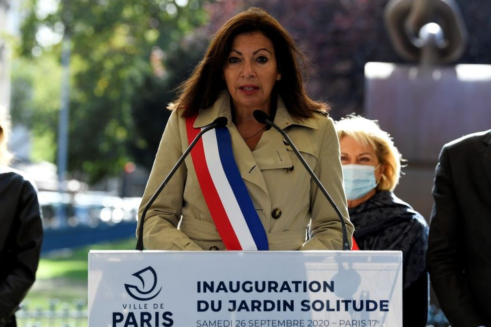 Paris Mayor Anne Hidalgo gives a speech at the inauguration of the Jardin Solitude in Paris, 26 September