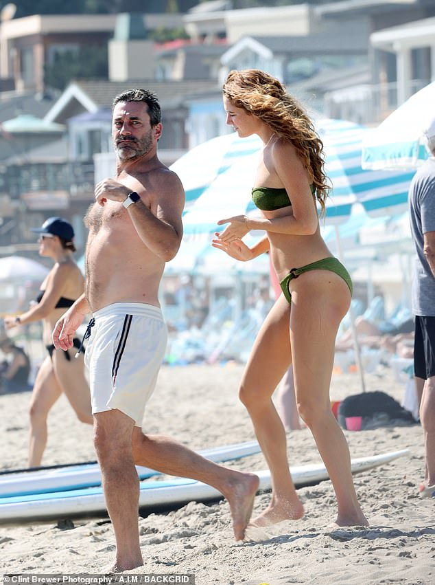 Sun day:Last month, his girlfriend Anna Osceola appeared to have a foot injury as she was seen with him wearing a boot and using crutches. And weeks later, Jon Hamm, 49, and Anna, 32, were seen enjoying a romantic beach day in Santa Barbara, California on Saturday -- with no crutches or boot in sight