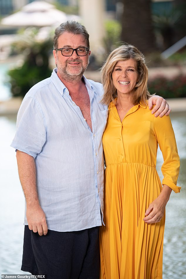 Fighting it:Kate Garraway's husband Derek's six-month battle with coronavirus 'becomes the longest in the UK', it was claimed on Monday (pictured December 2019)