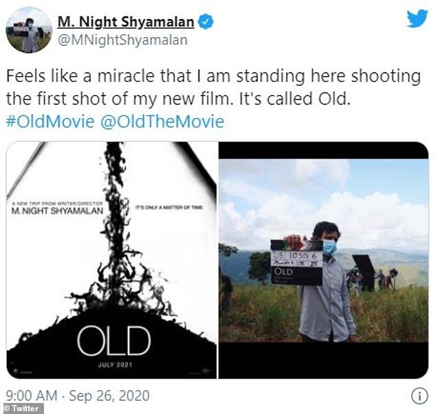 Back to work: Director M. Night Shyamalan, 50, revealed the artwork and title of his upcoming thriller Old on Saturday