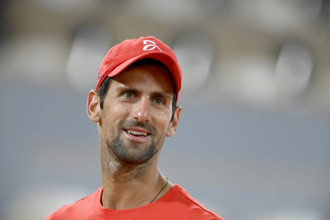 Novak Djokovic of Serbia looks on during a training session at Roland Garros  on September 25, 2020 in Paris, France.