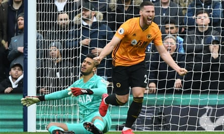 Matt Doherty celebrates scoring for Wolves against his new club