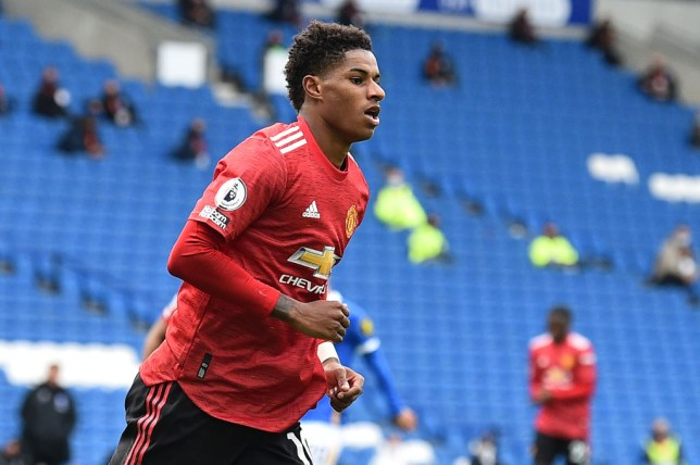 Marcus Rashford scored his first goal of the new season against Brighton
