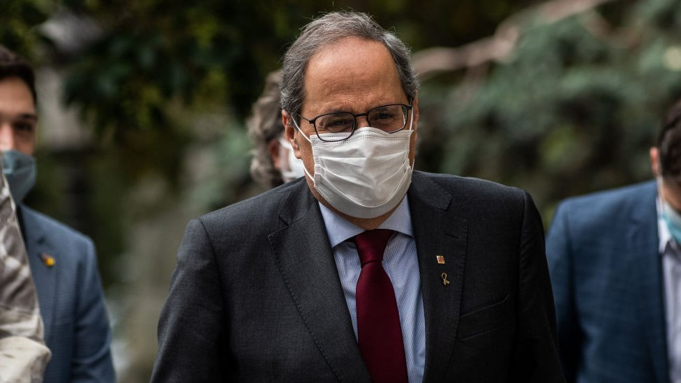 Catalan regional president Quim Torra arrives at the Supreme Court