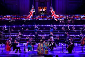 Socially distanced performers at the Last Night of the Proms 2020.