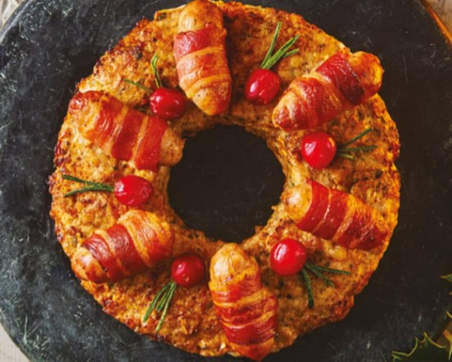 Sainsbury's Christmas food range includes a pigs-in-blankets wreath Taste the Difference Pigs in Blanket Stuffing Wreath - ?10