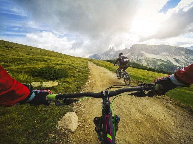 Point of view POV mountain bike on the dolomites