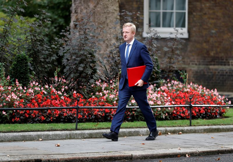 © Reuters. Britain's Digital, Culture, Media and Sport Secretary Oliver Dowden walks outside Downing Street in London