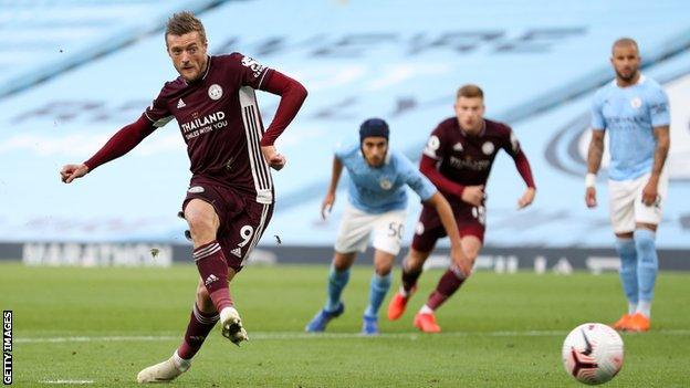 Jamie Vardy completes his hat-trick against Manchester City