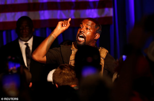 Erratic: The rapper gotemotional at his first campaign rally in South Carolina in July while discussing abortion and claimed he and Kim once considered aborting daughter North