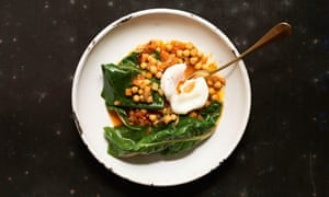 Chickpeas, swiss chard and soft-poached egg by Florence Knight.