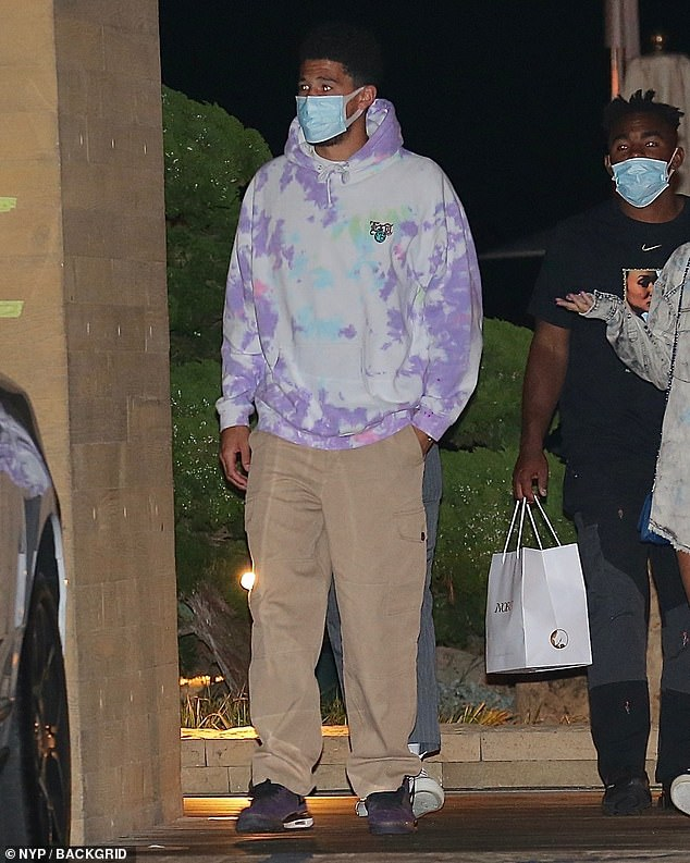 Across the pond: Kendall's rumoured beauDevin Booker was seen heading out for dinner with friends at Nobu in Malibu