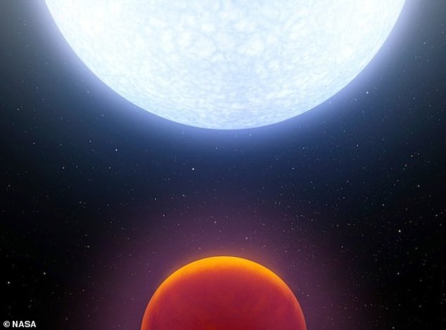 This is an earlier artist impression of HD133112 and WASP-189b shared by NASA before the full extent of its ultra-hot surface were known